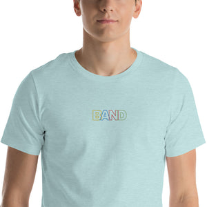 Basic Band Marching Band Embroidered Unisex T-Shirt-Shirt-Marching Arts Merchandise-Heather Prism Ice Blue-XS-Marching Arts Merchandise