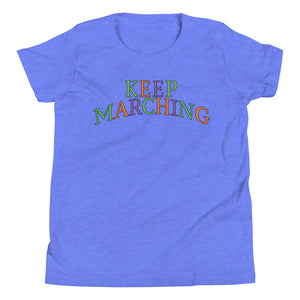Keep Marching Youth Short Sleeve T-Shirt-Marching Arts Merchandise-Heather Columbia Blue-L-Marching Arts Merchandise