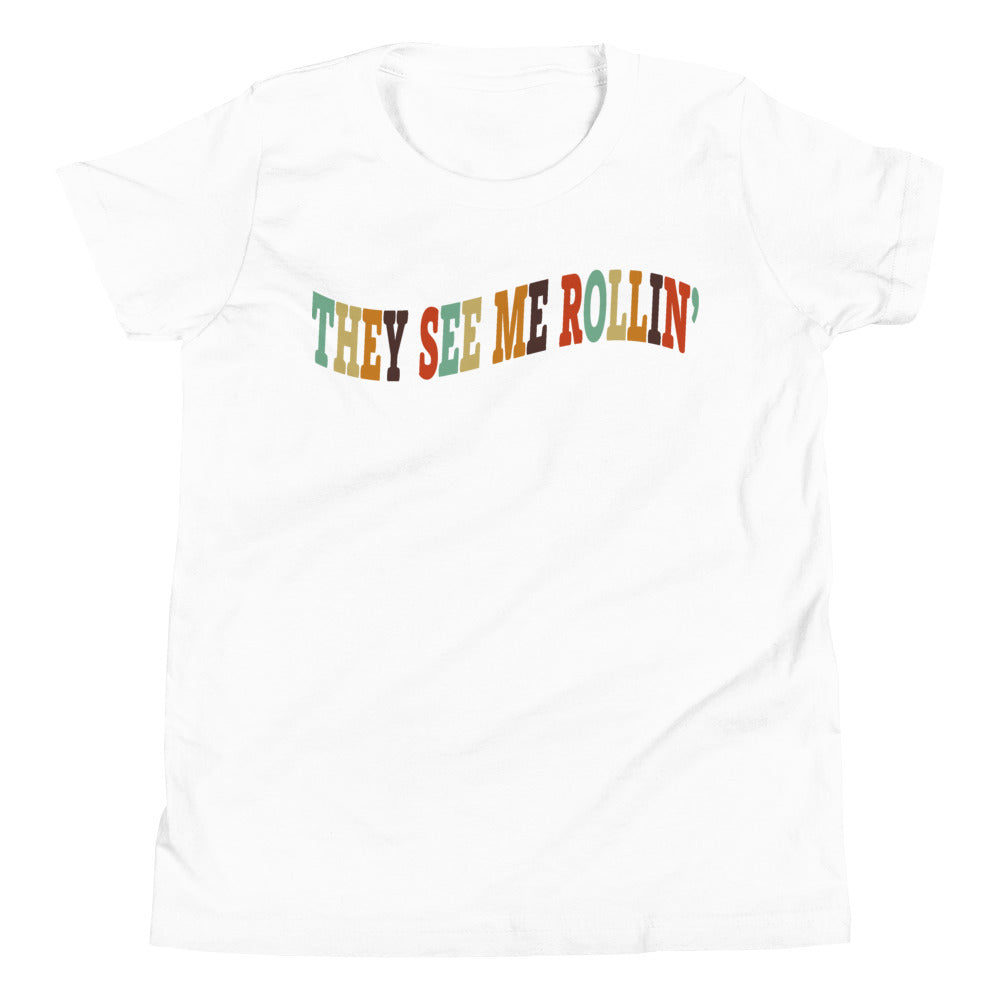 They See Me Rollin' Youth Short Sleeve T-Shirt-Marching Arts Merchandise-White-L-Marching Arts Merchandise