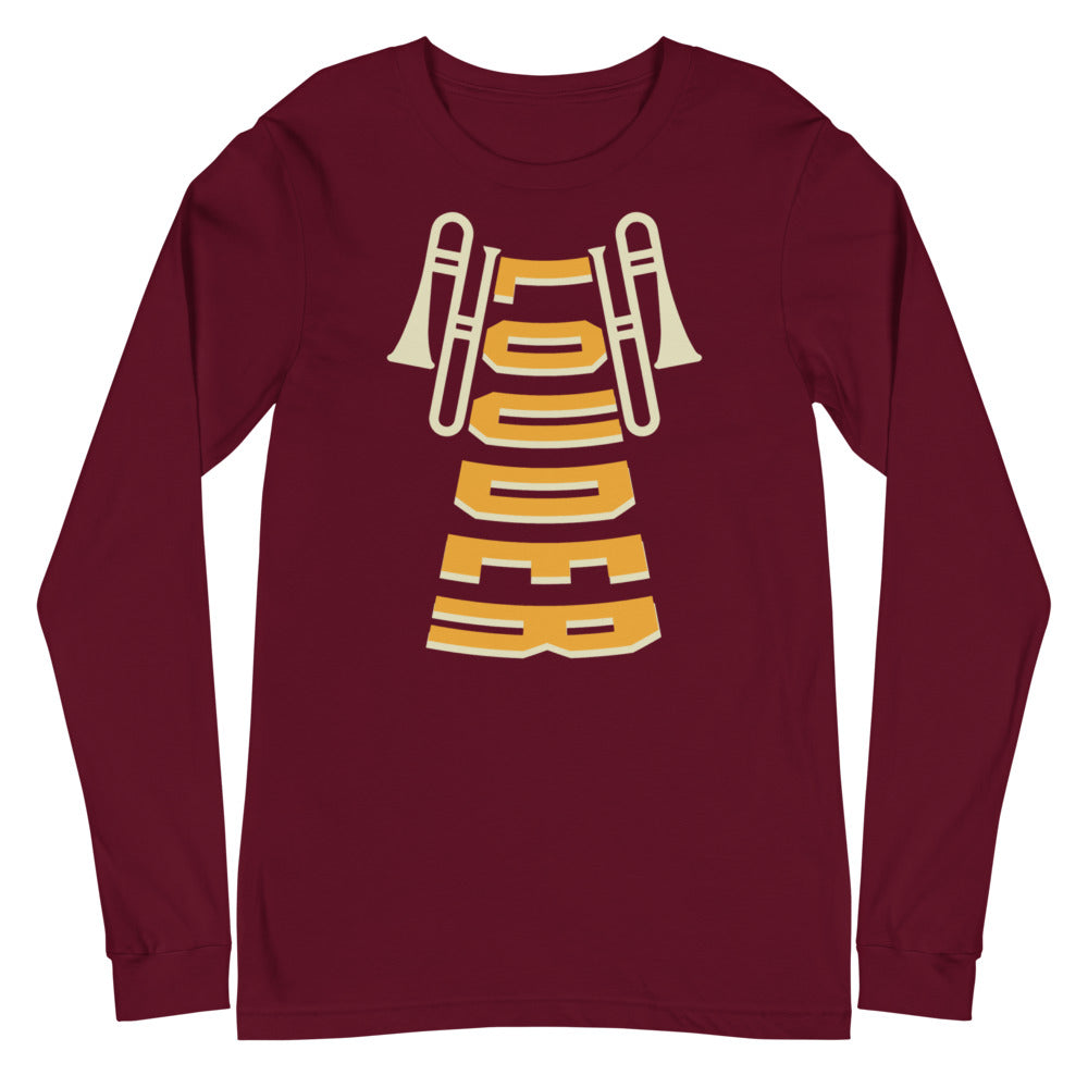 Louder Trombone Marching Band Unisex Long Sleeve Tee-Marching Arts Merchandise-Maroon-XS-Marching Arts Merchandise