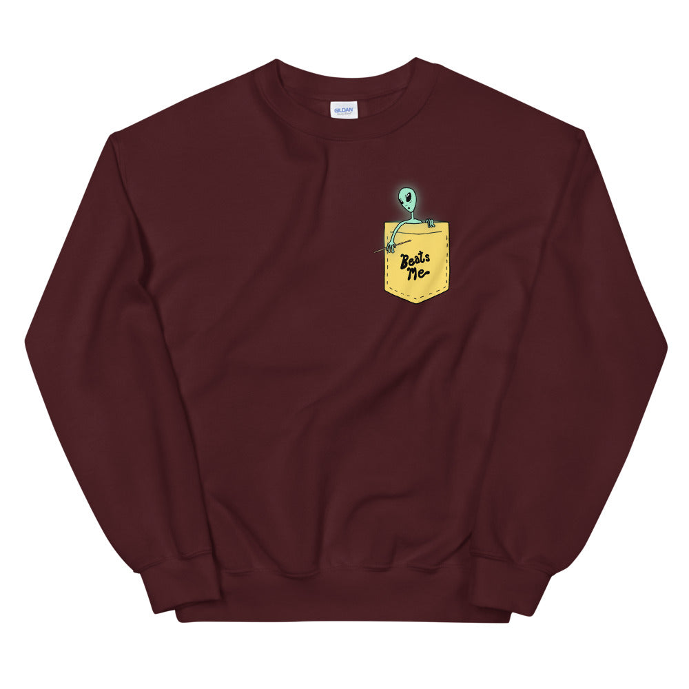 Beats Me Alien Percussion Unisex Sweatshirt-Marching Arts Merchandise-Maroon-S-Marching Arts Merchandise