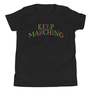 Keep Marching Youth Short Sleeve T-Shirt-Marching Arts Merchandise-Black-L-Marching Arts Merchandise