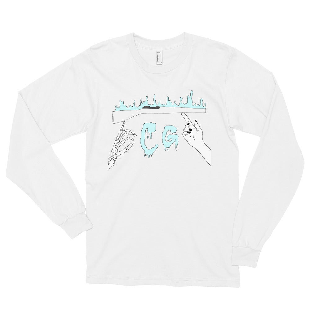 Rifle On Fire Long Sleeve T-Shirt-Marching Arts Merchandise-White-S-Marching Arts Merchandise