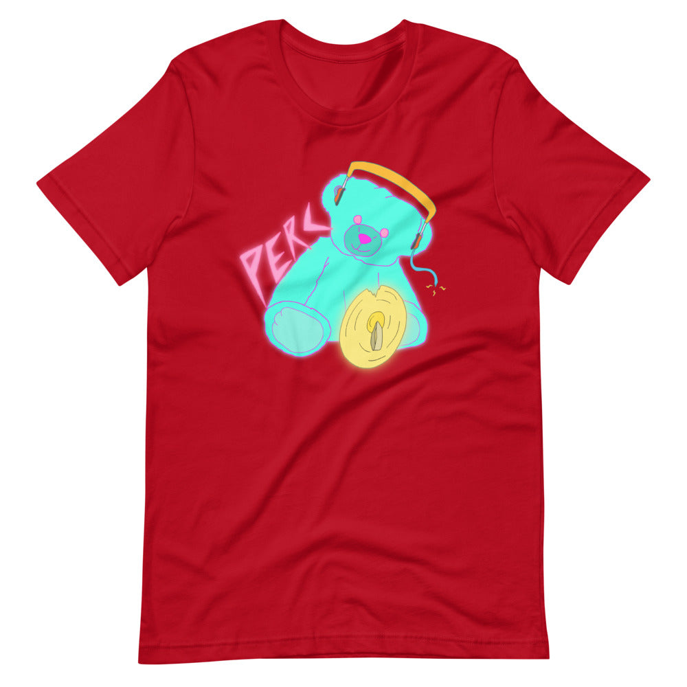 Neon Teddy Cymbal Percussion Short-Sleeve Unisex T-Shirt-Marching Arts Merchandise-Red-S-Marching Arts Merchandise