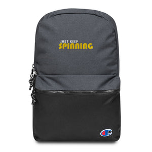 Just Keep Spinning Embroidered Champion Backpack-Marching Arts Merchandise-Heather Black / Black-Marching Arts Merchandise