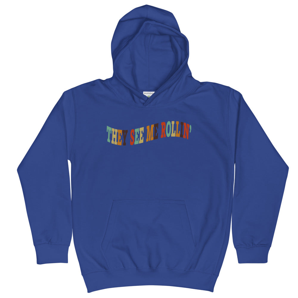 They See Me Rollin' Kids Hoodie-Marching Arts Merchandise-Royal Blue-L-Marching Arts Merchandise