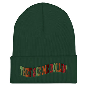 They See Me Rollin' Cuffed Beanie-Marching Arts Merchandise-Spruce-Marching Arts Merchandise