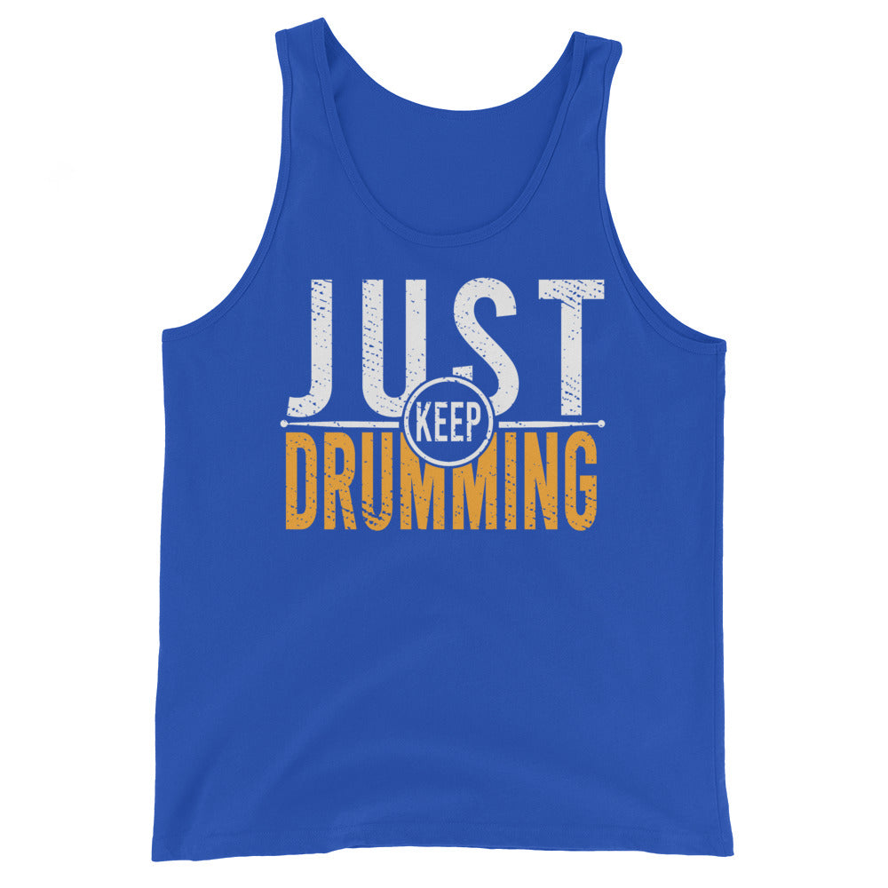 Just Keep Drumming Percussion Unisex Tank Top-Marching Arts Merchandise-True Royal-XS-Marching Arts Merchandise
