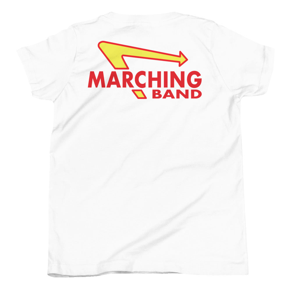 Marching Burgers Youth Short Sleeve T-Shirt-Marching Arts Merchandise-White-L-Marching Arts Merchandise