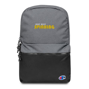 Just Keep Spinning Embroidered Champion Backpack-Marching Arts Merchandise-Heather Grey / Black-Marching Arts Merchandise