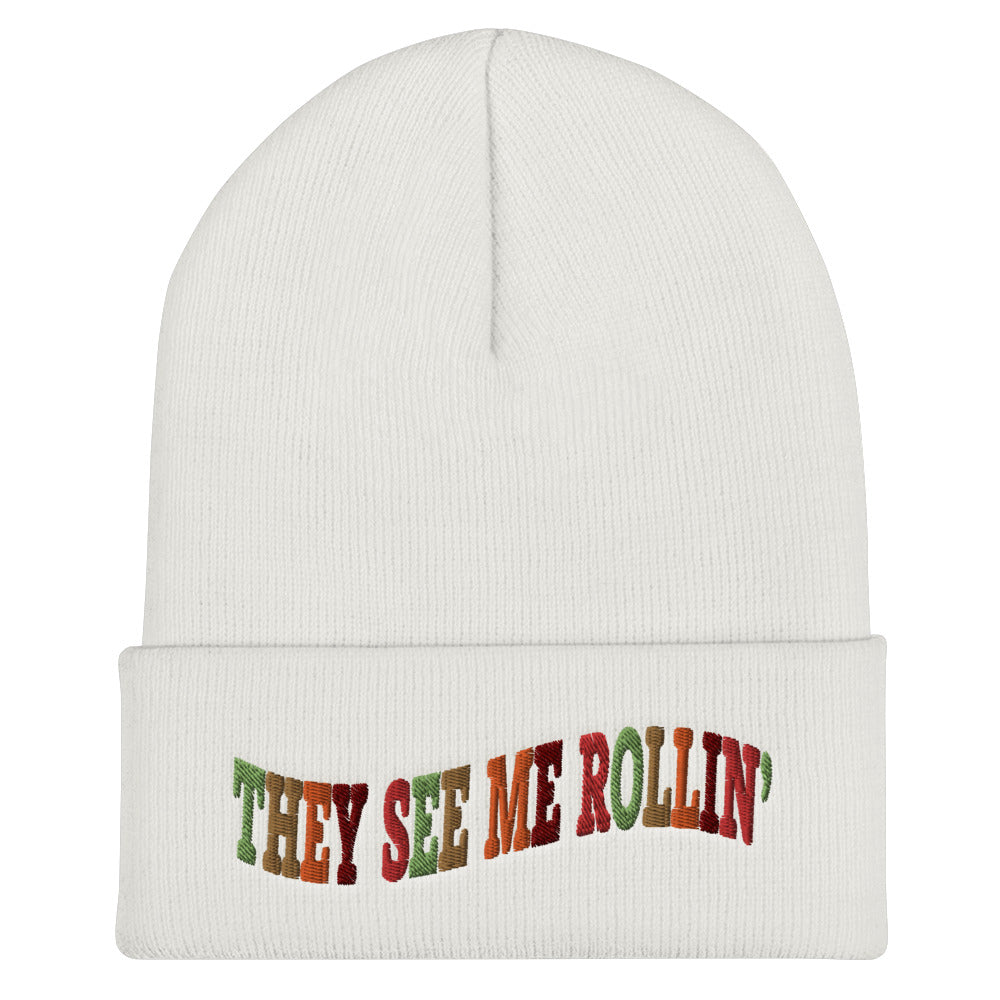 They See Me Rollin' Cuffed Beanie-Marching Arts Merchandise-White-Marching Arts Merchandise