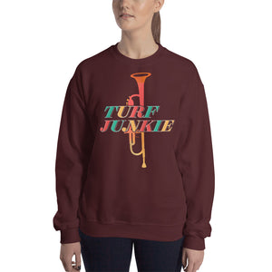 Turf Junkie Trumpet Marching Band Unisex Sweatshirt-Marching Arts Merchandise-Marching Arts Merchandise