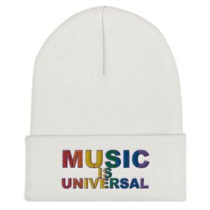 Music is Universal Cuffed Beanie-Marching Arts Merchandise-White-Marching Arts Merchandise