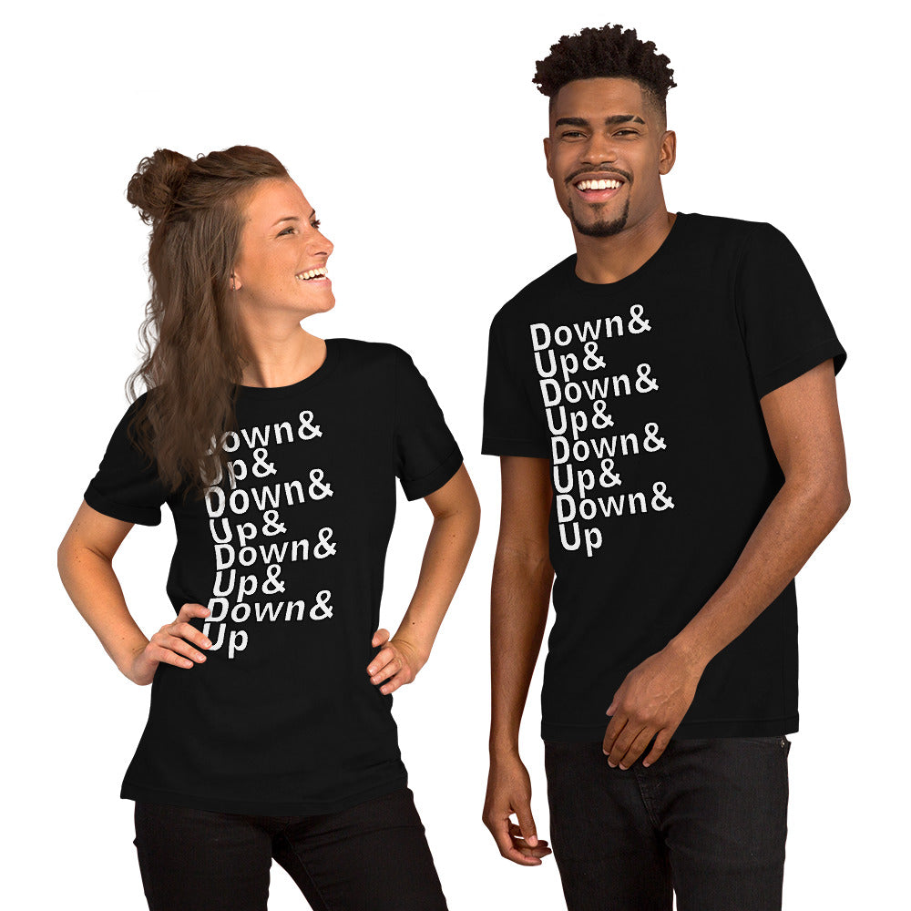 Down & Up Short-Sleeve Unisex T-Shirt-Marching Arts Merchandise-Marching Arts Merchandise