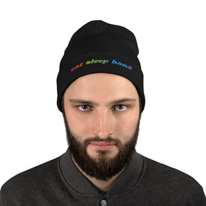 Eat Sleep Band Marching Band Embroidered Beanie-Beanie-Marching Arts Merchandise-Black-Marching Arts Merchandise