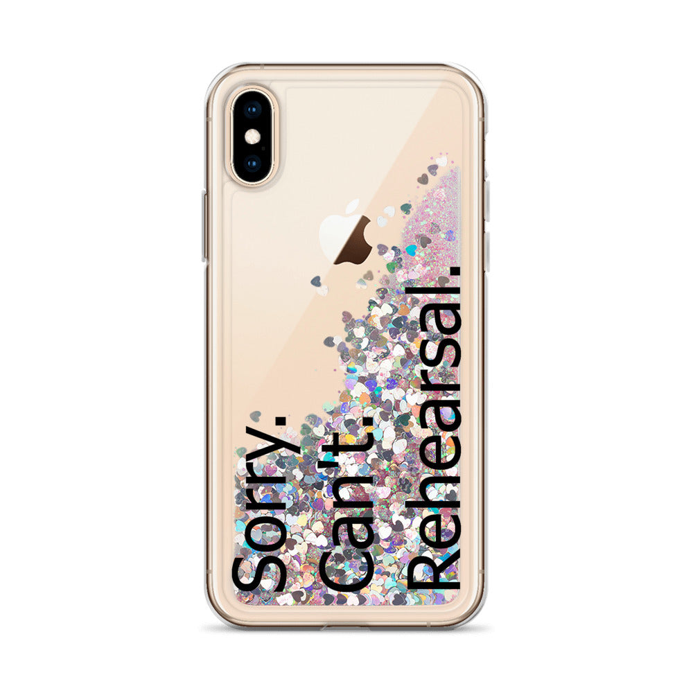 Sorry Can't Rehearsal Liquid Glitter Phone Case-Marching Arts Merchandise-Pink-iPhone X/XS-Marching Arts Merchandise