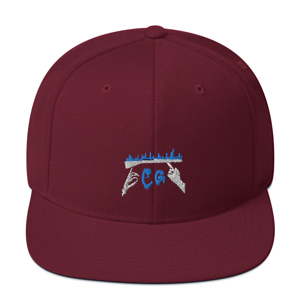 Rifle On Fire Snapback Hat-Marching Arts Merchandise-Maroon-Marching Arts Merchandise