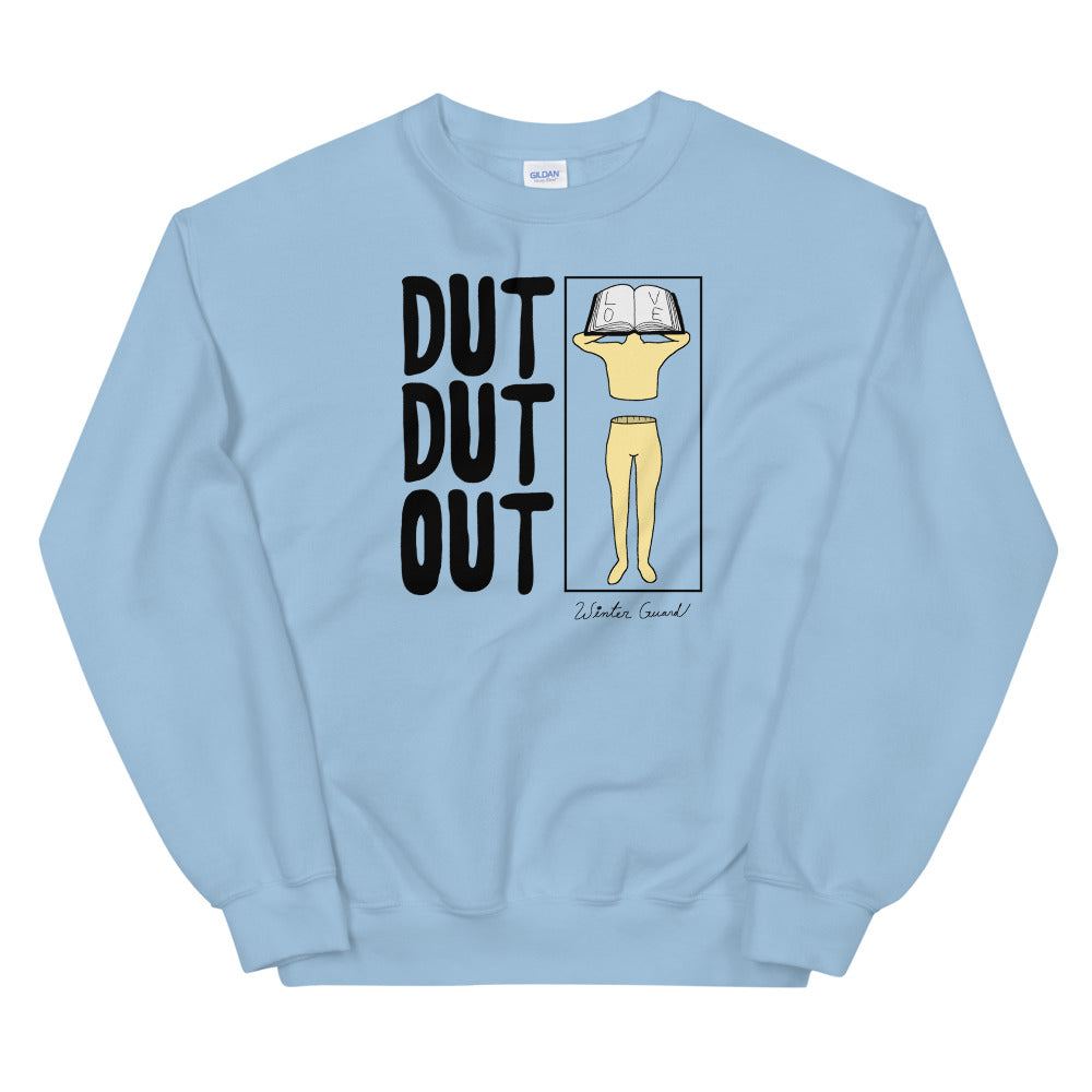 Love Dut Dut Out Color Guard Unisex Sweatshirt-Marching Arts Merchandise-Light Blue-S-Marching Arts Merchandise