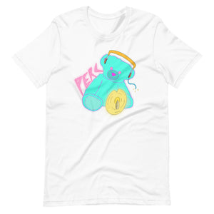 Neon Teddy Cymbal Percussion Short-Sleeve Unisex T-Shirt-Marching Arts Merchandise-White-XS-Marching Arts Merchandise