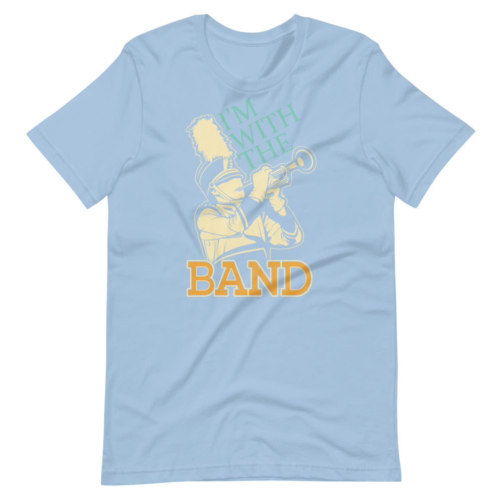 I'm With The Band Marching Band Short-Sleeve Unisex T-Shirt-Marching Arts Merchandise-Light Blue-XS-Marching Arts Merchandise