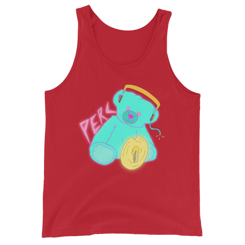 Neon Teddy Cymbal Percussion Unisex Tank Top-Marching Arts Merchandise-Red-XS-Marching Arts Merchandise