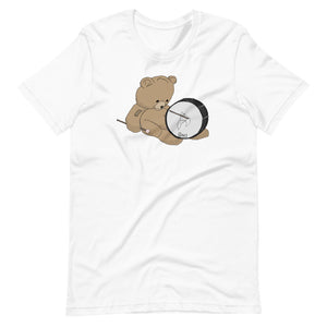 Teddy Bass Percussion Short-Sleeve Unisex T-Shirt-Marching Arts Merchandise-White-XS-Marching Arts Merchandise
