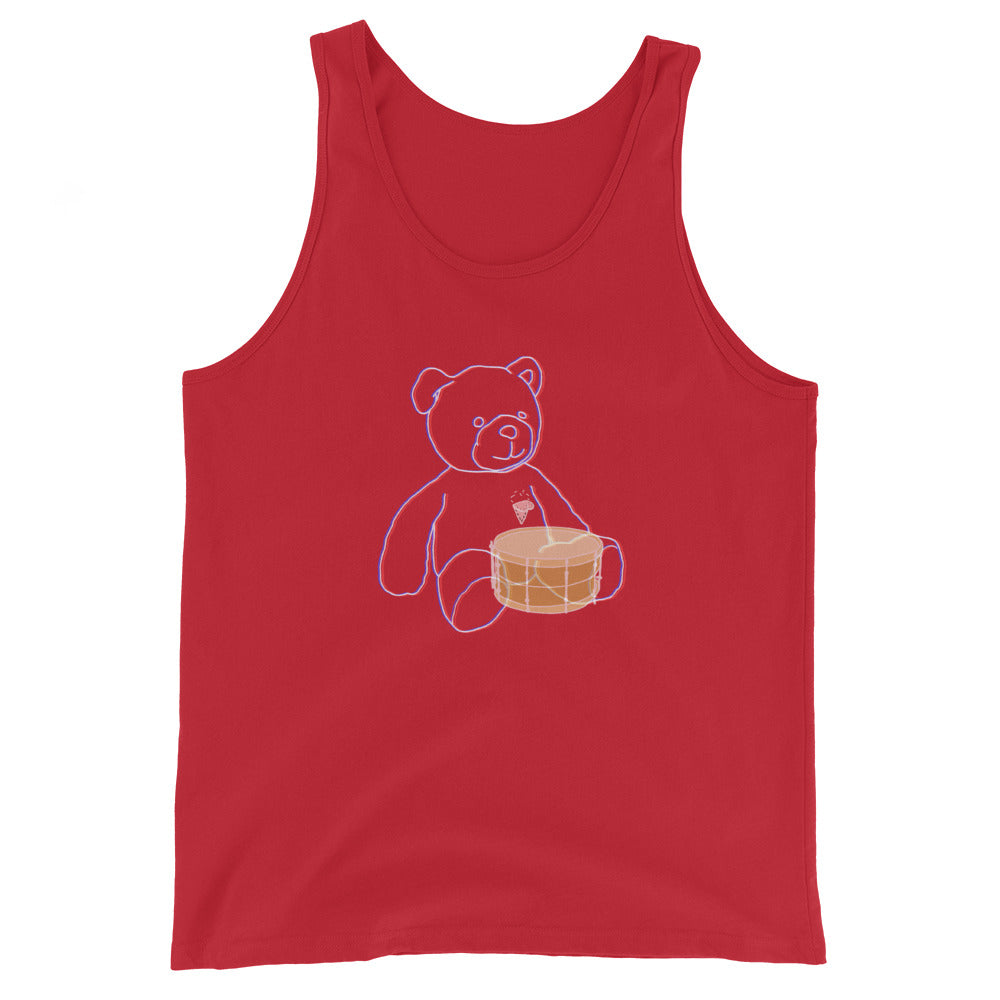 Neon Teddy Snare Percussion Unisex Tank Top-Marching Arts Merchandise-Red-XS-Marching Arts Merchandise