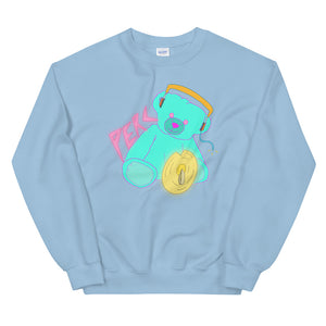 Neon Teddy Cymbal Percussion Unisex Sweatshirt-Marching Arts Merchandise-Light Blue-S-Marching Arts Merchandise