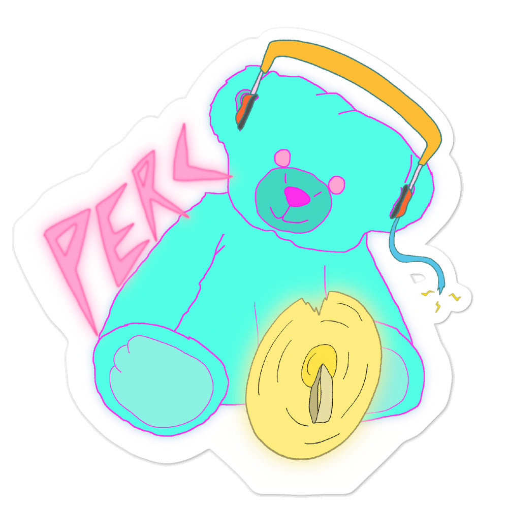 Neon Teddy Cymbal Percussion Bubble-Free Stickers-Marching Arts Merchandise-5.5x5.5-Marching Arts Merchandise