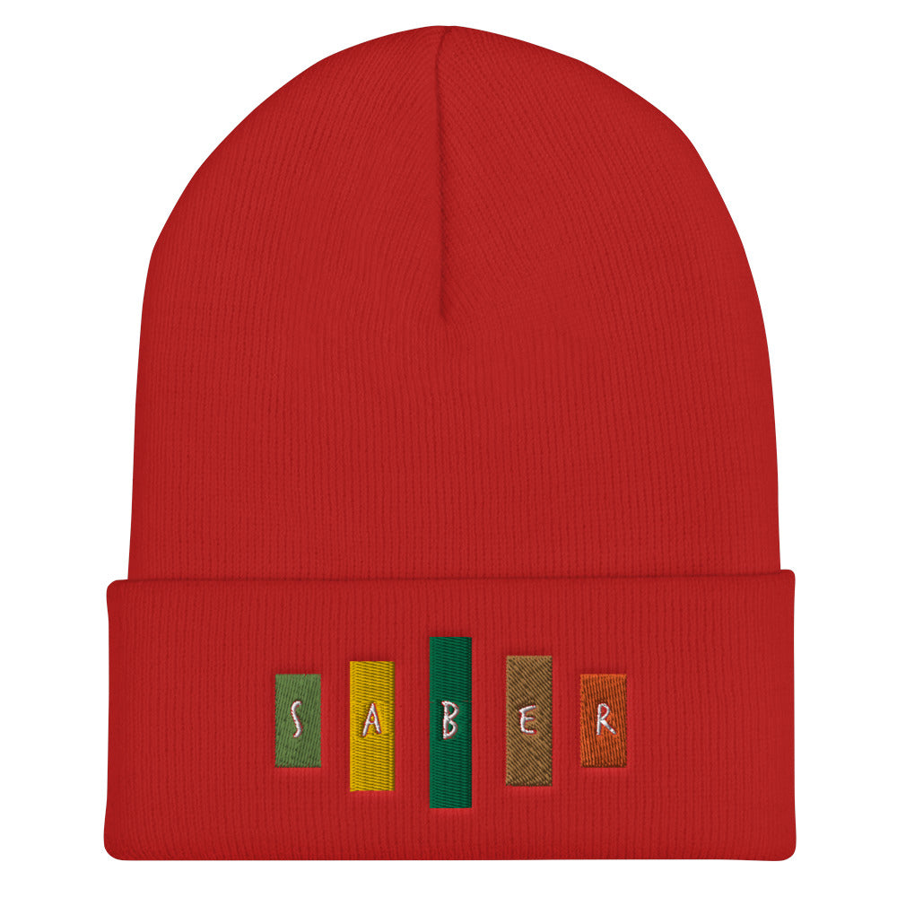 Retro Saber Cuffed Beanie-Marching Arts Merchandise-Red-Marching Arts Merchandise