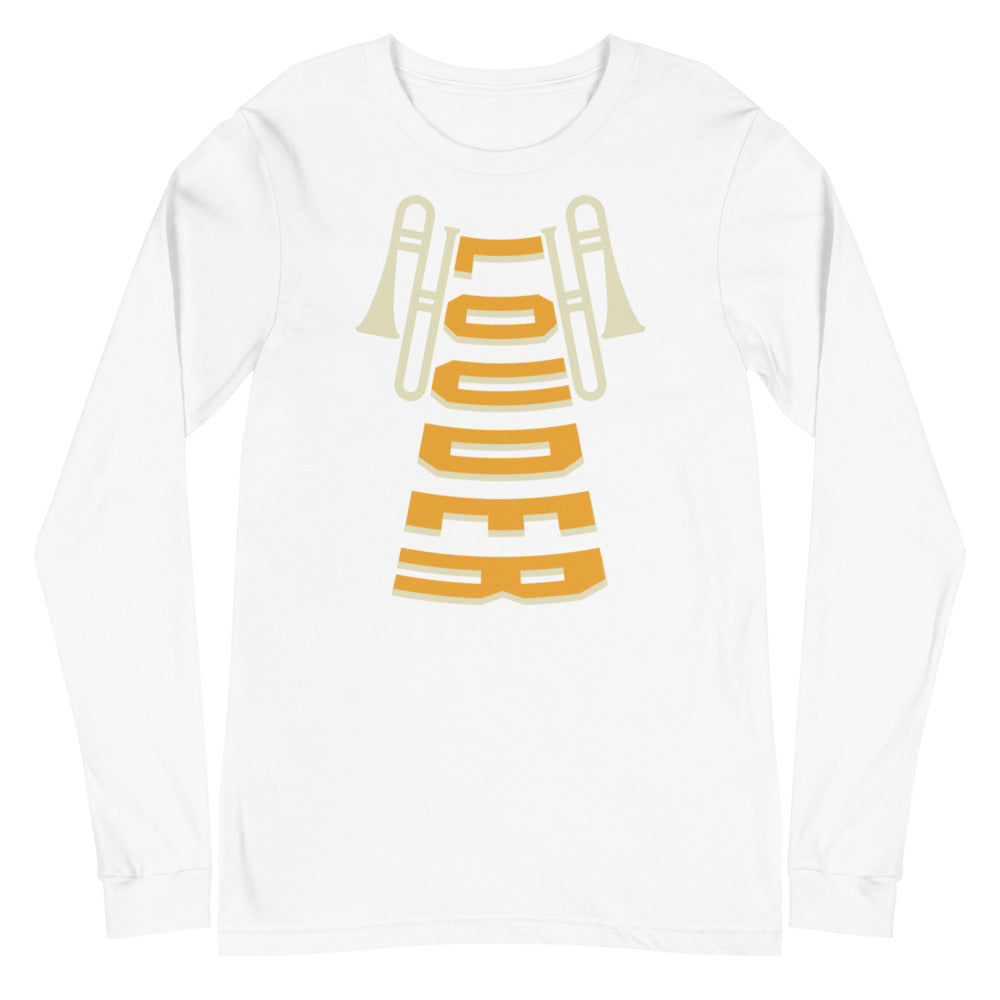 Louder Trombone Marching Band Unisex Long Sleeve Tee-Marching Arts Merchandise-White-XS-Marching Arts Merchandise