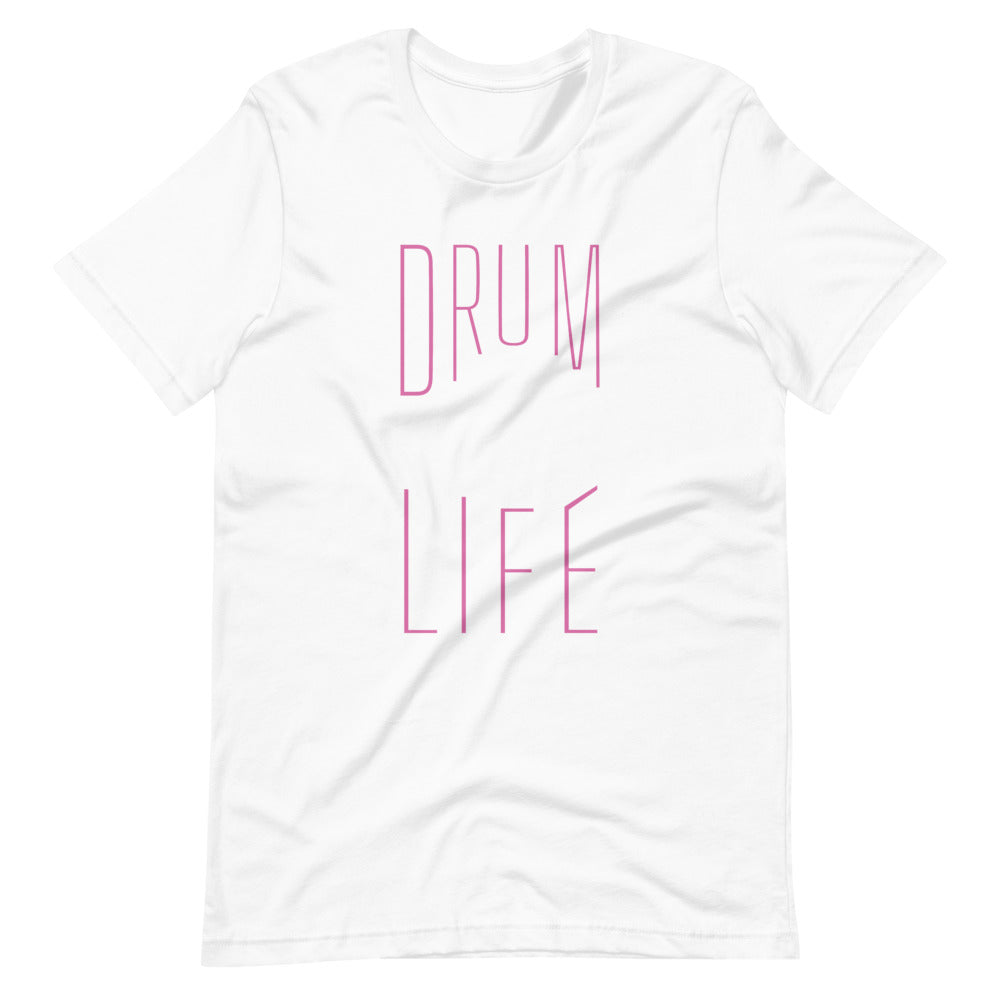 Drum Life Percussion Short-Sleeve Unisex T-Shirt-Marching Arts Merchandise-White-XS-Marching Arts Merchandise