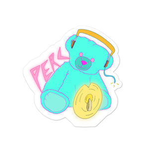 Neon Teddy Cymbal Percussion Bubble-Free Stickers-Marching Arts Merchandise-4x4-Marching Arts Merchandise