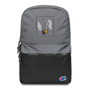 Color Guard Fire Embroidered Champion Backpack-Marching Arts Merchandise-Heather Grey / Black-Marching Arts Merchandise