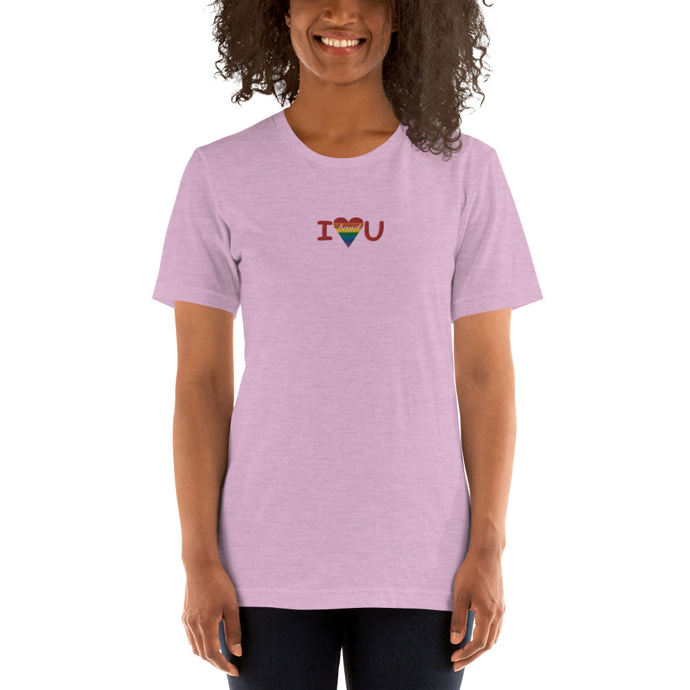 I Heart You Band Embroidered Unisex T-Shirt-Marching Arts Merchandise-Heather Prism Lilac-XS-Marching Arts Merchandise