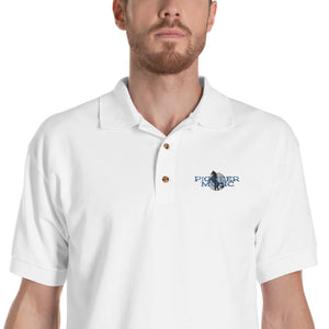 Pioneer Music Embroidered Men's Polo Shirt-Marching Arts Merchandise-White-S-Marching Arts Merchandise