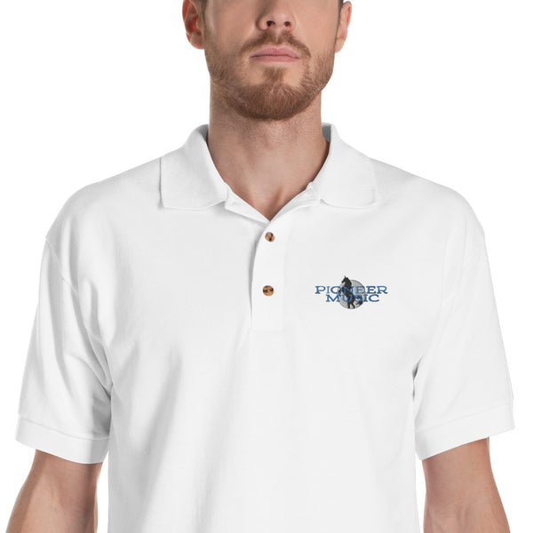 Pioneer Music Embroidered Men's Polo Shirt - Marching Arts Merchandise -  - Marching Arts Merchandise - Marching Arts Merchandise - band percussion color guard clothing accessories home goods