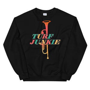 Turf Junkie Trumpet Marching Band Unisex Sweatshirt-Marching Arts Merchandise-Black-S-Marching Arts Merchandise