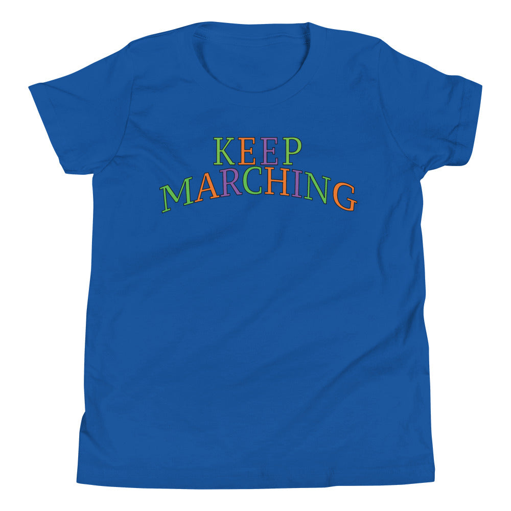 Keep Marching Youth Short Sleeve T-Shirt-Marching Arts Merchandise-True Royal-L-Marching Arts Merchandise