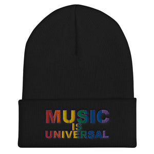 Music is Universal Cuffed Beanie-Marching Arts Merchandise-Black-Marching Arts Merchandise