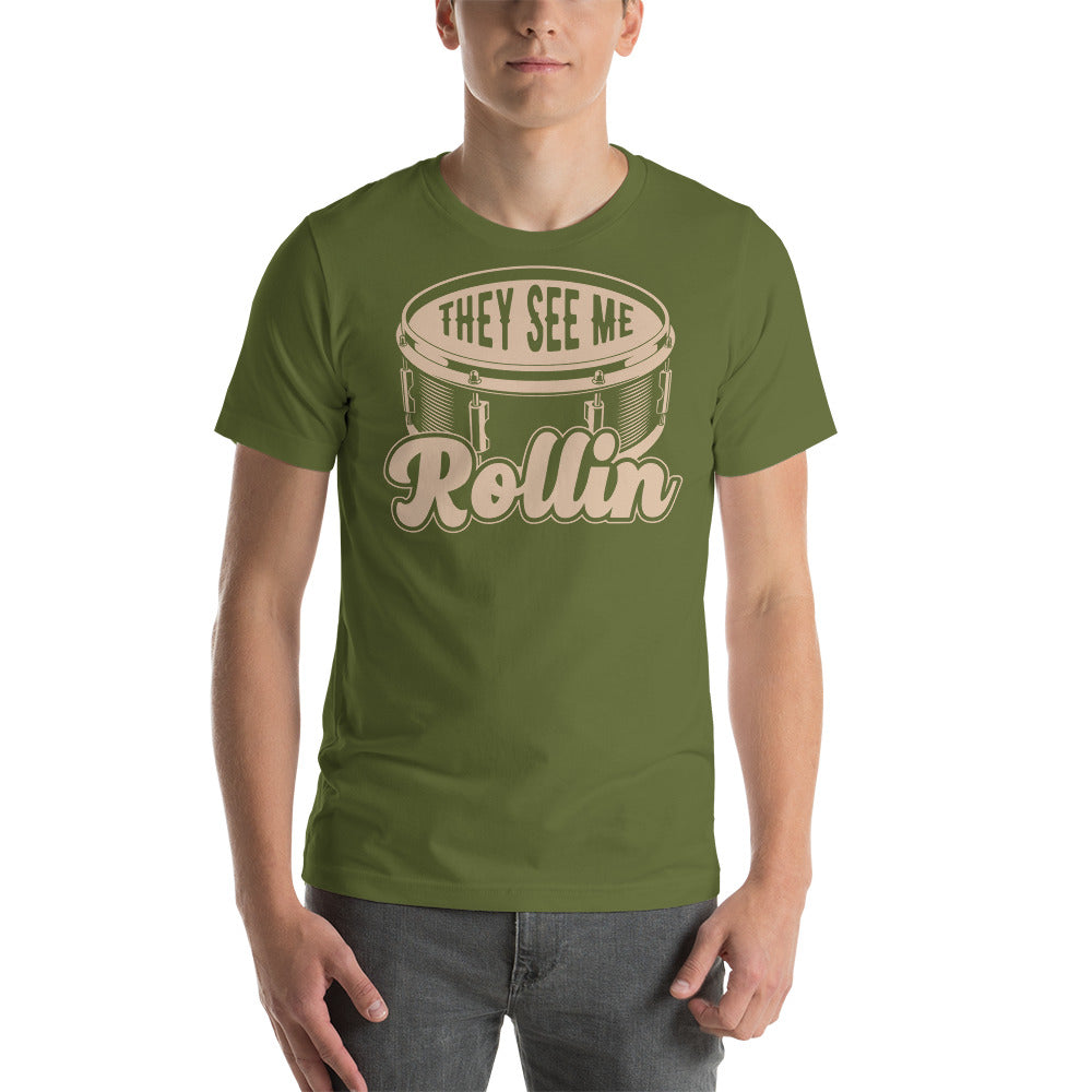 They See Me Rollin' Snare Percussion Short-Sleeve Unisex T-Shirt-Marching Arts Merchandise-Marching Arts Merchandise