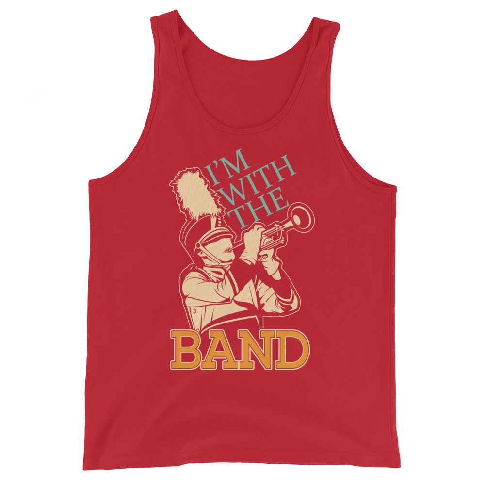 I'm With The Marching Band Unisex Tank Top-Marching Arts Merchandise-Red-XS-Marching Arts Merchandise