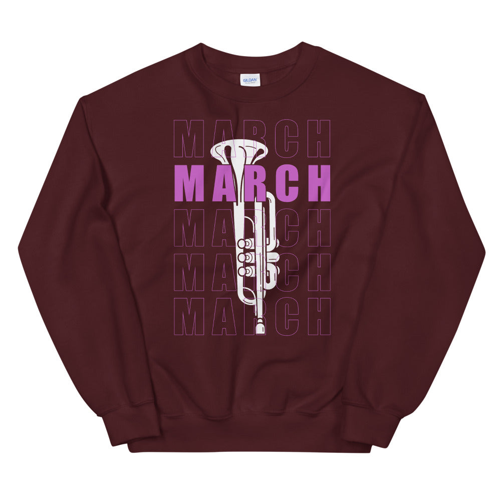 March Trumpet Marching Band Unisex Sweatshirt-Marching Arts Merchandise-Maroon-S-Marching Arts Merchandise