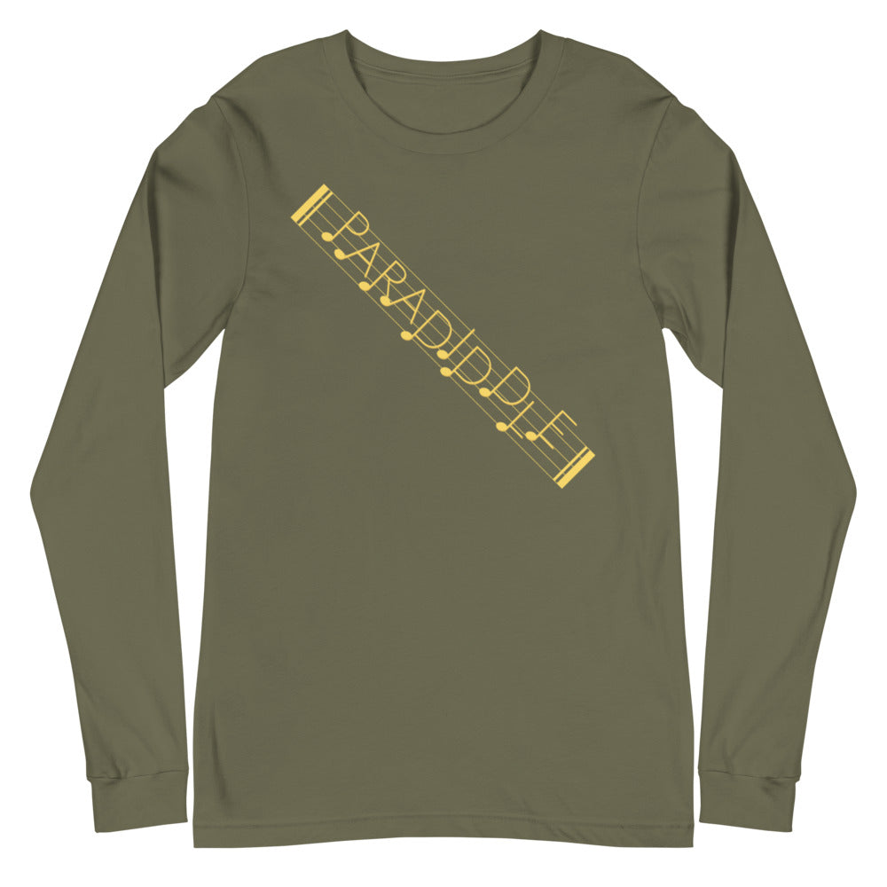 Paradiddle Strap Percussion Unisex Long Sleeve Tee-Marching Arts Merchandise-Military Green-XS-Marching Arts Merchandise