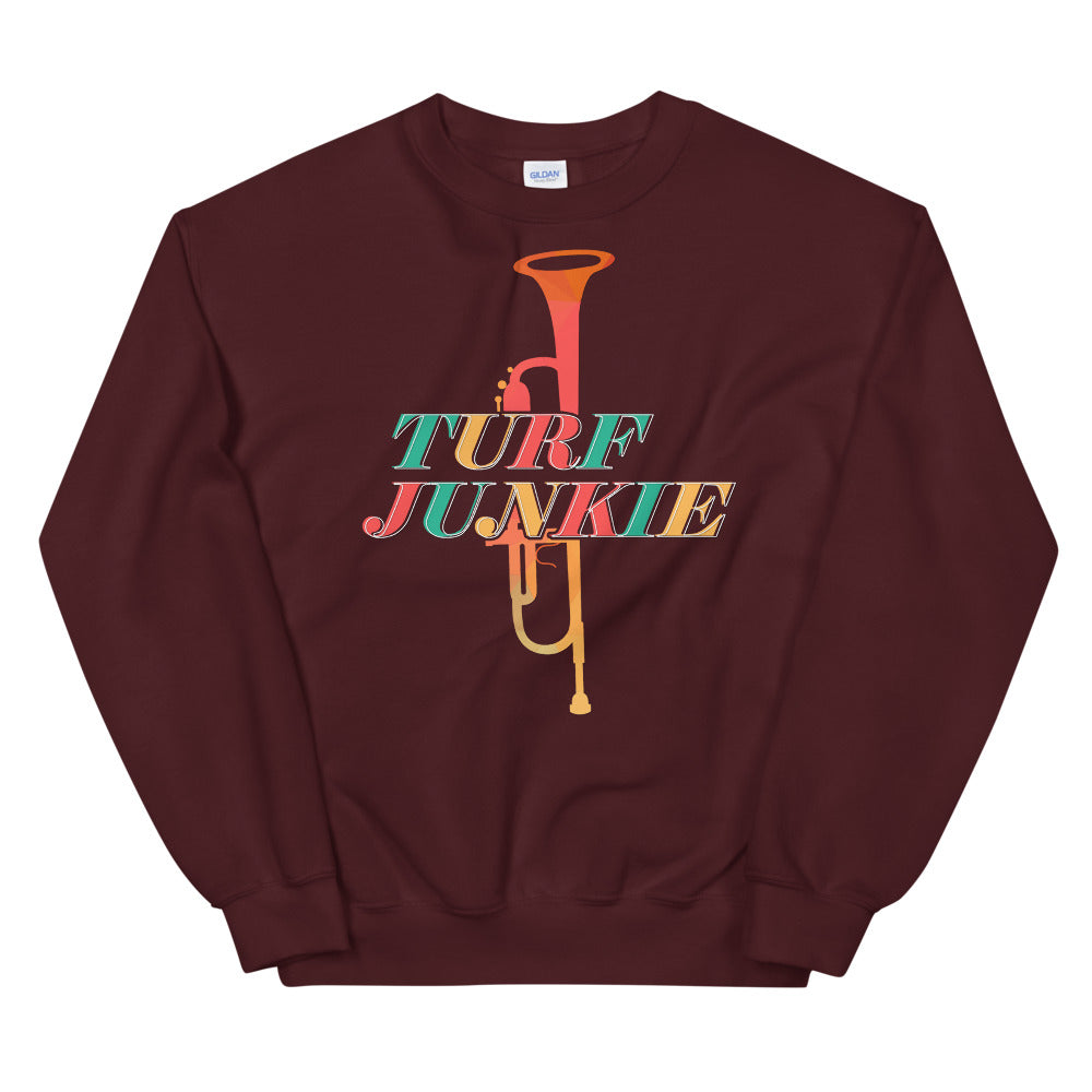 Turf Junkie Trumpet Marching Band Unisex Sweatshirt-Marching Arts Merchandise-Maroon-S-Marching Arts Merchandise