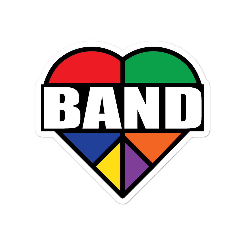 Stained Band Heart Bubble-Free Stickers-Marching Arts Merchandise-4x4-Marching Arts Merchandise