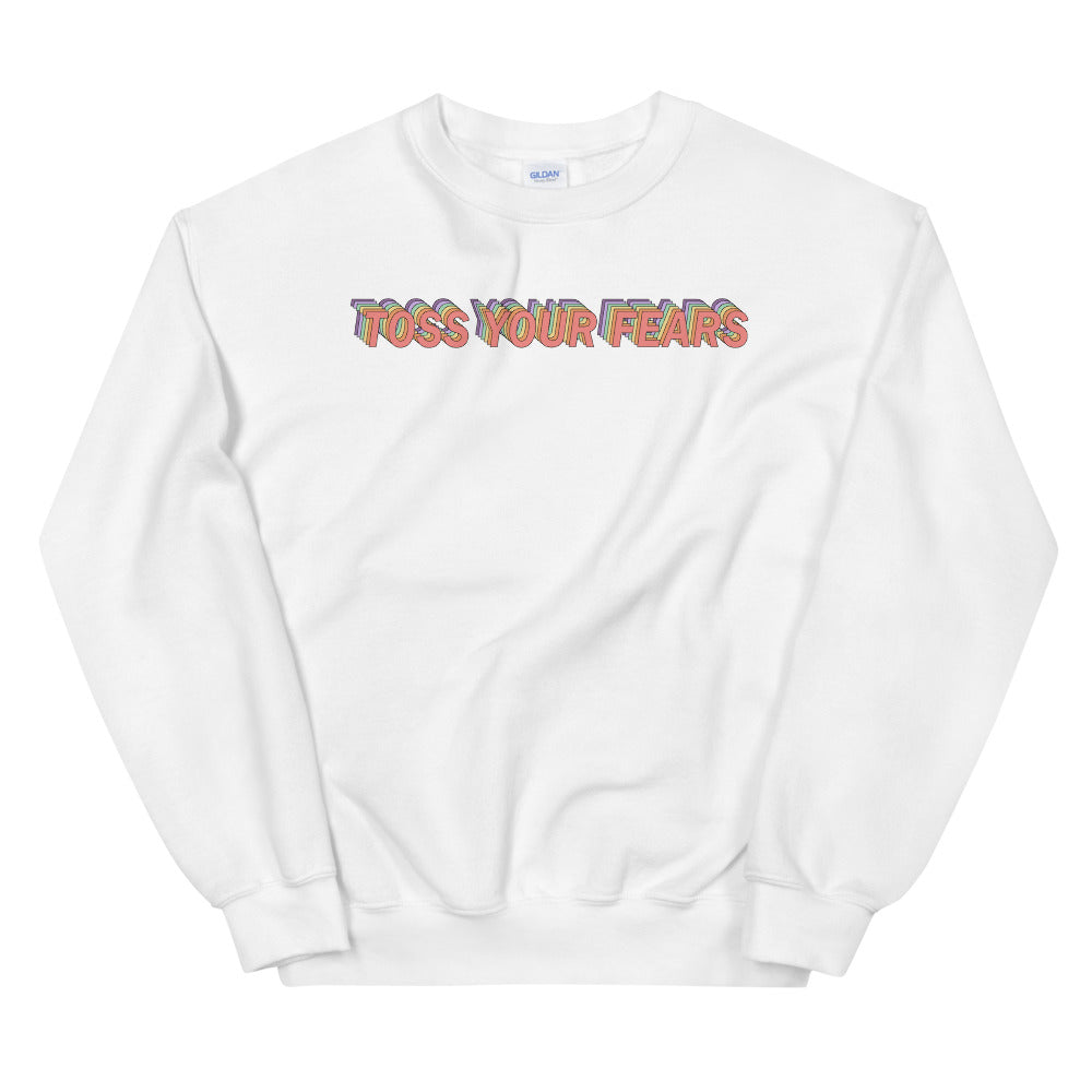 Toss Your Fears Color Guard Unisex Sweatshirt-Marching Arts Merchandise-White-S-Marching Arts Merchandise