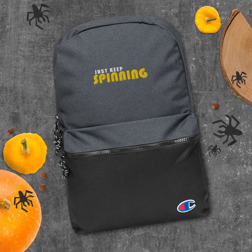 Just Keep Spinning Embroidered Champion Backpack-Marching Arts Merchandise-Marching Arts Merchandise