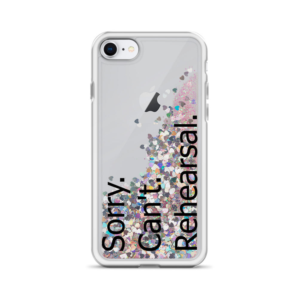 Sorry Can't Rehearsal Liquid Glitter Phone Case-Marching Arts Merchandise-Pink-iPhone SE-Marching Arts Merchandise