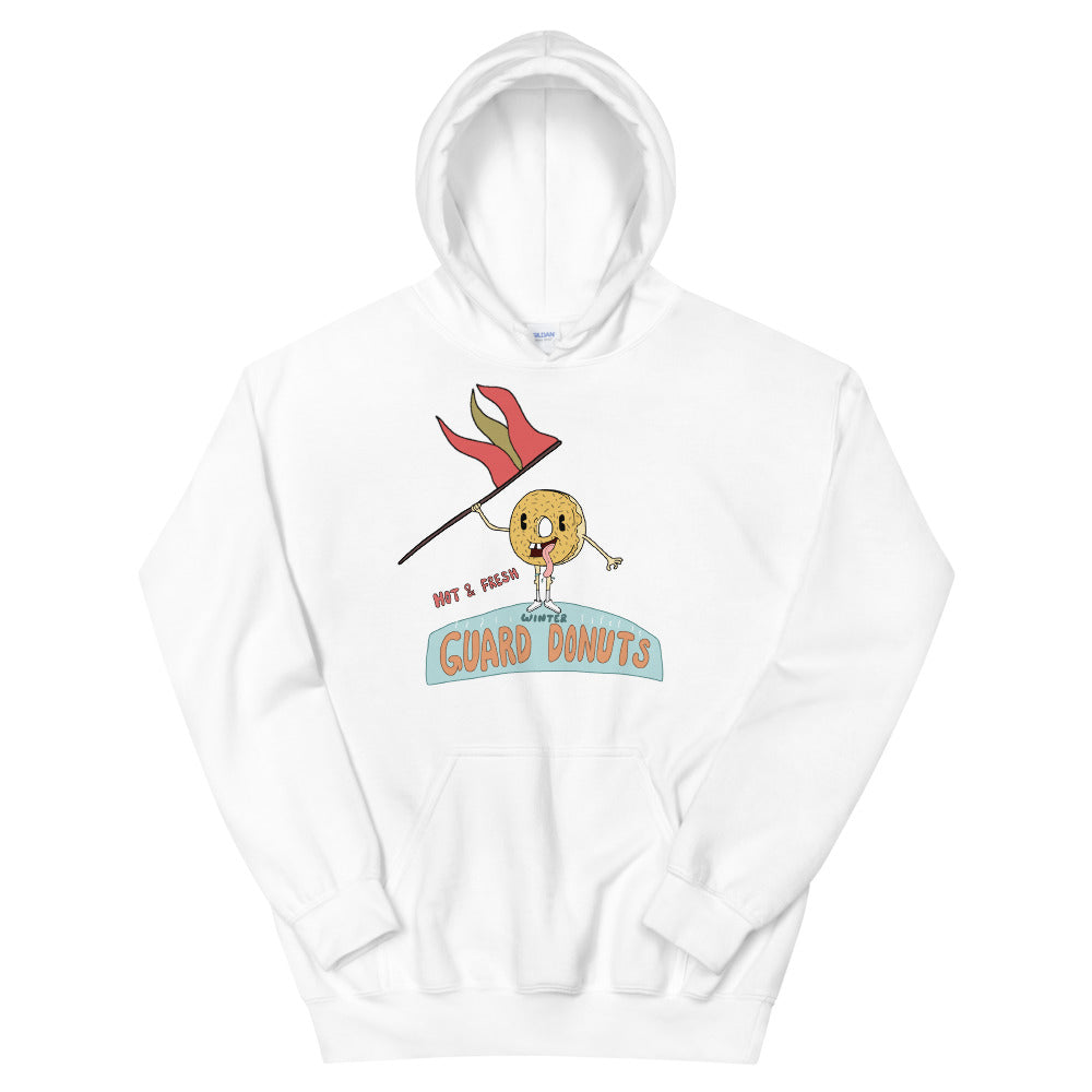 Flag Donuts Color Guard Unisex Hoodie-Marching Arts Merchandise-White-S-Marching Arts Merchandise